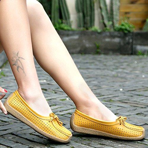 b8b75a5f ... Z.SUO Mujer Mocasines de cuero Moda Loafers Casual Zapatos de  conducción Zapatillas Amarillo