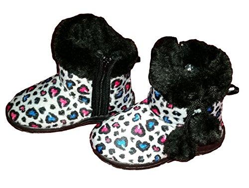 Cheetah//Leopard Fashion Print Footwear Toddler Girls Pom Pom Ankle Boots