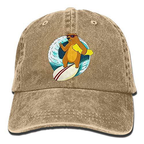 Unisex Washed Retro Denim Hats Adjustable Baseball Cap California Surf Bear Novelty Dad Hat Stetson Hat
