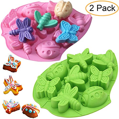 2Pcs 8 Cavity Insect Butterfly Dragonfly Bee Ladybug Silicone Cake Molds Ice Pudding Jelly Dessert Chocolate Mould Baking Cake Pan DIY Fondant Cake Decoration Mold Baking Tray Bakeware