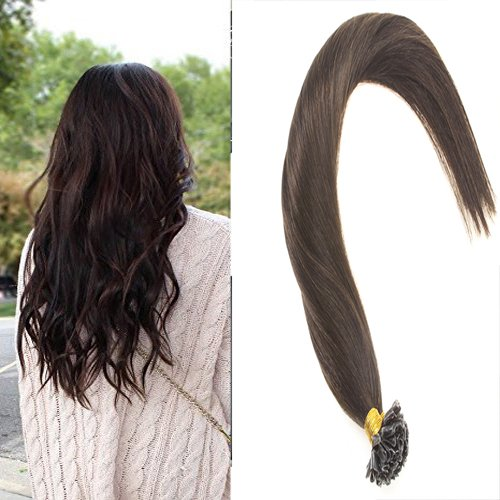 Sunny 22inch #2 Dark Brown Pre Bonded Keratin Fusion nail U Tip Long Straight Remy Human Hair 1g/s Total 50g Utip Hair Extensions