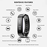 Fitness Tracker, Ronten R2 Smart Bluetooth Wristband Pedometer Smart Bracelet Sleep Monitor, Waterproof Activity Tracker Watch with Replacement Band for Android & IOS (Black+blue(band))