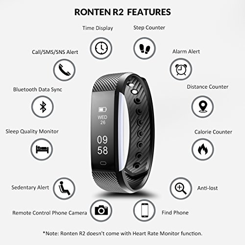 Fitness Tracker, Ronten R2 Smart Bluetooth Wristband Pedometer Smart Bracelet Sleep Monitor, Waterproof Activity TrackerWatch with Replacement Band for Android &IOS (Black+blue(band))