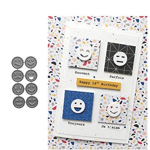(MeikoTan 8Pcs Funny Emoji Smile Face Metal Cutting Dies Scrapbooking Paper Photo Album Embossing Decorative Craft Card)