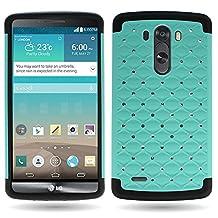 CoverON® for LG G3 Diamond Rhinestone Bling [Aurora Series] Heavy Duty Hard Hybrid Tough Phone Cover Case - (Teal / Black)