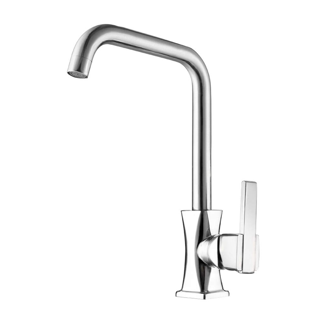 DUOMING Faucet Kitchen Sink Mixer Tap Single Lever Swivel Spout Chrome Brass Square Body Waterfall Taps Basin Sink Mixer Stainless Steel Tap Faucet