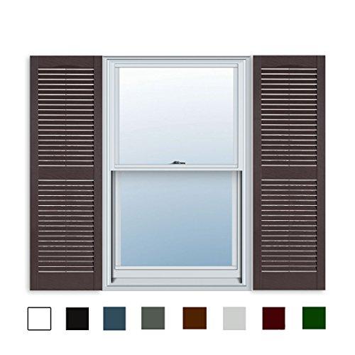 - 15 Inch x 55 Inch Standard Louver Exterior Vinyl Window Shutters, Sienna Brown (Pair)