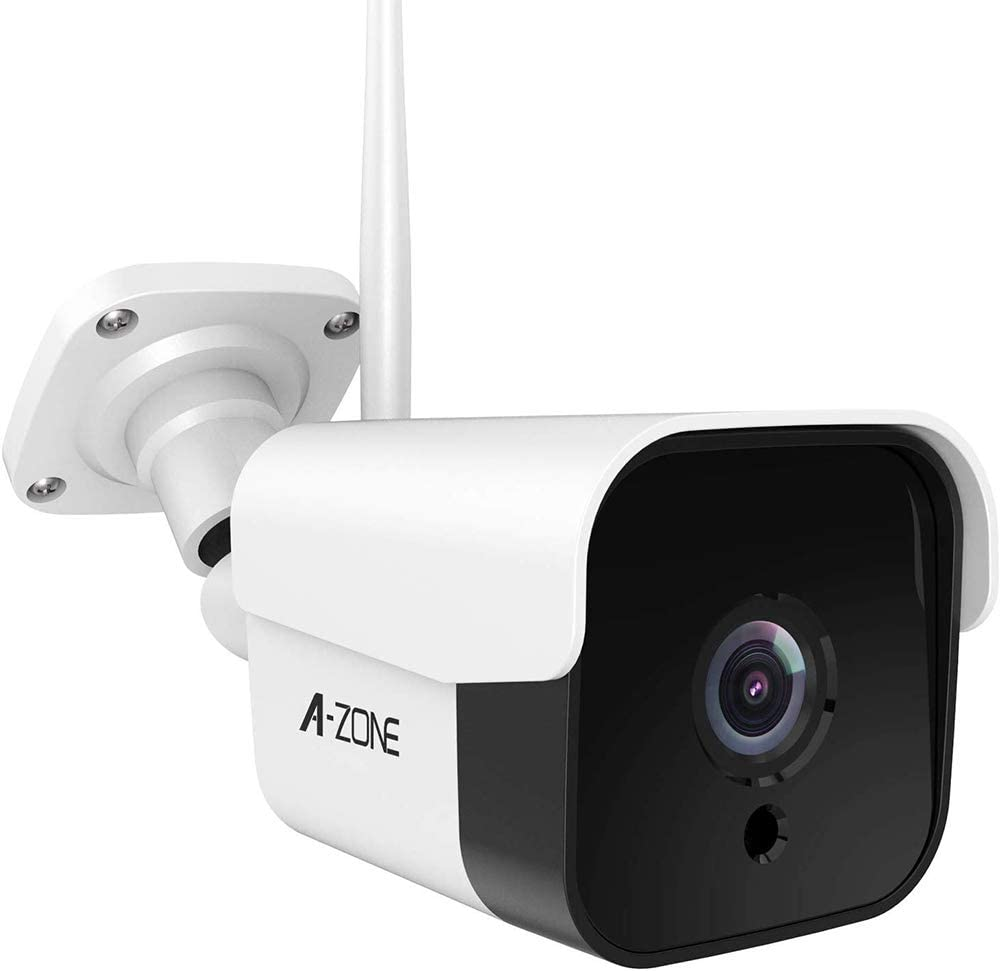AZONE Outdoor Security Camera - 3MP Bullet Door Camera IP66 Colorful Night Vision Home Surveillance System, Work with Alexa, WiFi Camera Outdoor, Two-Way Audio, Motion Detector, Alarm/Recording