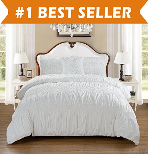 Elegant Comfort Luxury All Season 10-PIECE Bed in a Bag Puff Collection Comforter Set! Premium Hotel Quality Wrinkle Resistant Silky-Soft Includes Bed Sheet Set, Full/Queen, White