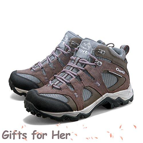 Clorts Femmes Daim Uneebtex Mid Imperméable Botte De Randonnée Extérieure Randonnée Sac À Dos Chaussures Hkm820gi Violet