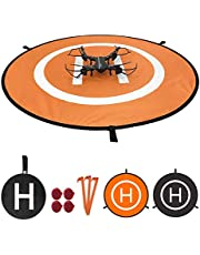 WinPower Drone Landing Pad with LED Night Lights, Waterproof Universal 75cm 30 inches Foldable Landing Pad for DJI Mavic Pro, DJI Spark, RC Drones Helicopter and More (Orange Black)