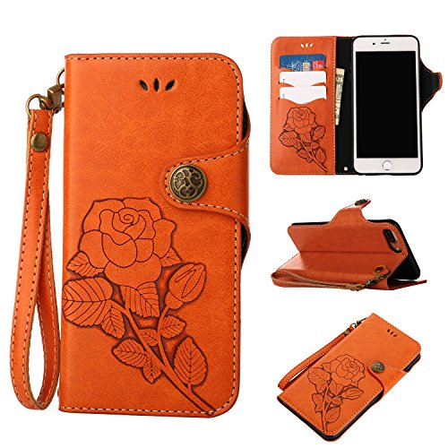 Valentoria Prime Sale Day Deals Week 2019-iPhone 6s Plus Leater Wallet Case, 2 in 1 Vintage Flower Book in Italian Style 3 Card Holder Cash Slot Kickstand Function Slim Lightweight Case Cover(Orange)