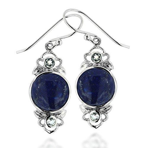 Rhodium Plated 925 Sterling Silver Blue Lapis Lazuli Gemstone Vintage Inspired Dangle ()