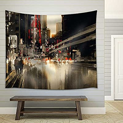 Stunning Expertise, With Expert Quality, City Street Digital Painting Illustration Fabric Wall