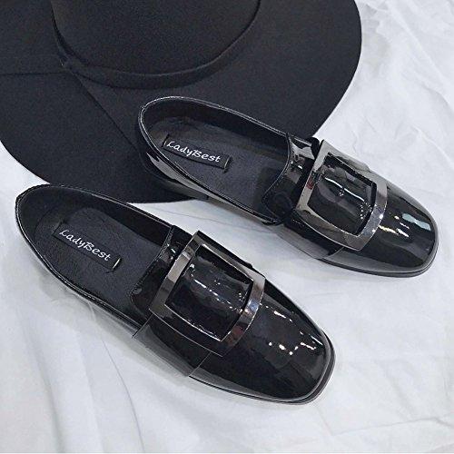 T-july Womens Classique Penny Loafer Chaussures À Enfiler Mode Brillant Rétro Casual Chaussures De Marche À Plat Noir