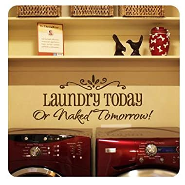LAUNDRY TODAY or NAKED TOMORROW Removable Wall Stickers Home Decals Decor Quote Art Vinyl Bedroom