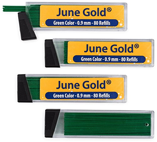 June Gold 320 Green Colored Lead Refills, 0.9 mm, Bold Thickness for Moderate Use, Break Resistant with Convenient Dispensers