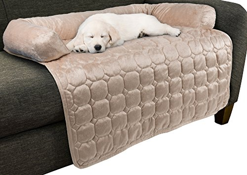 "Furniture Protector Pet Cover for Dogs and Cats with Shredded Memory Foam filled 3-Sided Bolster Soft Plush Fabric by PETMAKER – 35"" x 35"" Beige by PETMAKER (Image #6)"