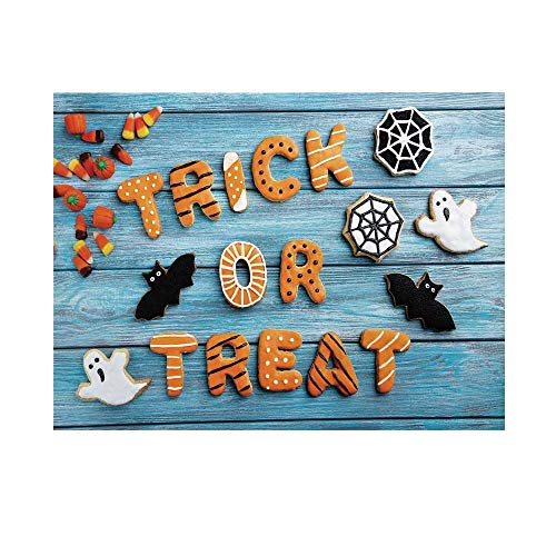 Vintage Halloween Photography Background,Trick or Treat Cookie Wooden Table Ghost Bat Web Halloween Backdrop for Studio,8x7ft