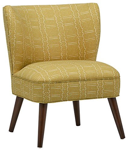 """Rivet SoDo Round Back Modern Accent Chair, Citrine - This cleanly designed chair with a rounded back is fashionable and comfortable at the same time. Ideal for entertaining friends in the living room, or as the perfect chair for the corner of a bedroom. 23"""" W x 30"""" D x 35"""" H Solid pine wood frame with poly/cotton blend fabric - living-room-furniture, living-room, accent-chairs - 51ptx5frwBL -"""
