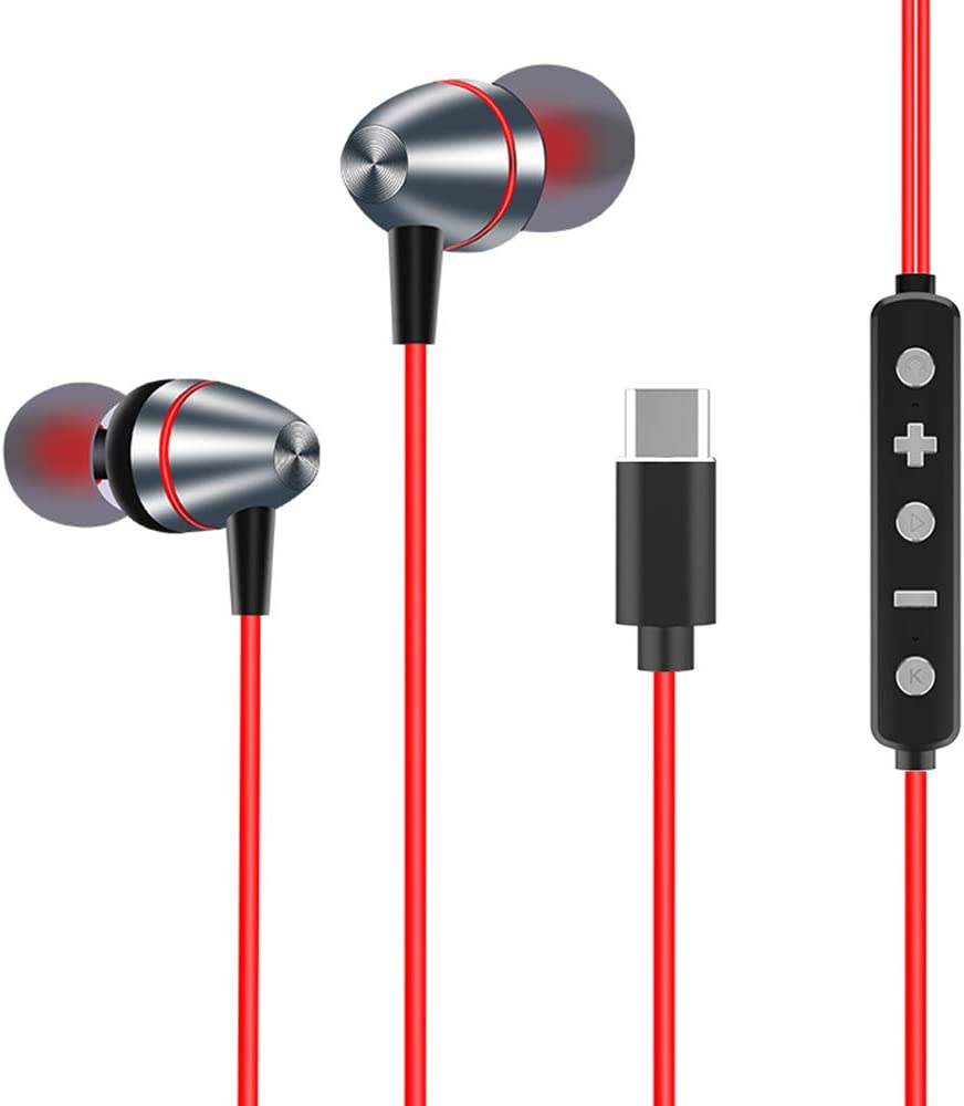 Bcamelys in-Ear Wired Headphones Earbuds with Microphone, Adapter Compatible with Apple Included