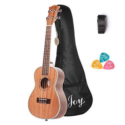Joy 314 24 Inch Concert Mahogany Ukulele, Walnut fingerboard and bridge and with free Bag,Strap,3pcs of Picks by Joy