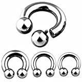 PAIR Internally Threaded Circular Barbells Horseshoes Pierced Body Jewelry 00g,0g,2g,4g,6g,8g,10g (10g - 1/2