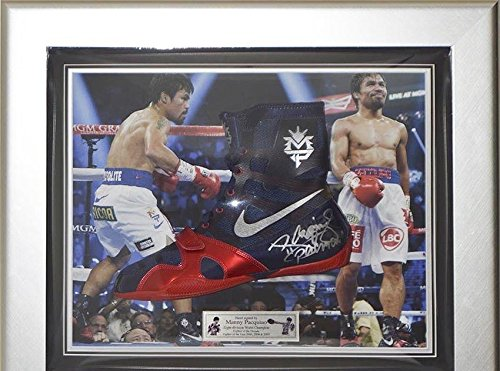 Signed Manny Pacquiao Nike Hyperko MP Framed Boxing Boot - Pacman - Autographed Boxing - Equipment Framed