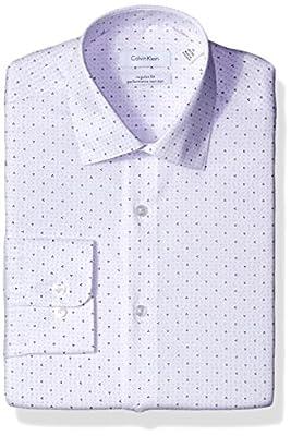 Calvin Klein Men's Regular Fit Triangle Print Dress Shirt