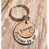 7 Year Anniversary 2013 Lucky Copper Penny with Down and Forever To Go Coin Key Chain