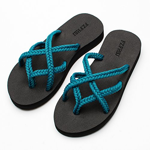 5a9be4560800de FZFHSJ Flip-Flops Summer Beach Braided Strap Sandal for Women Blue from  FZFHSJ