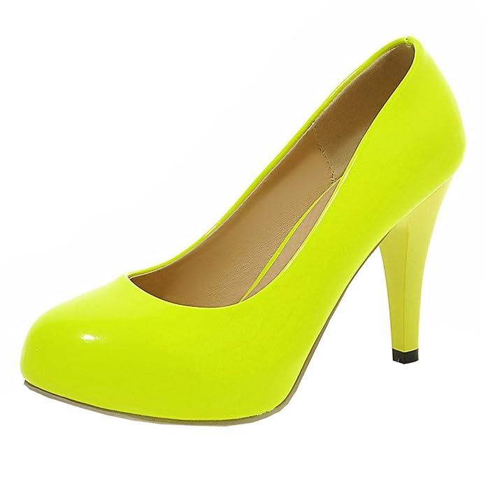 Agodor Damen High Heels Plateau Lack Pumps mit Stiletto 9cm Absatz Moderne Arbeit Schuhe
