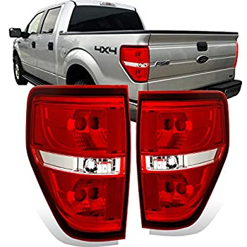 Image of AmeriLite Red/Clear Brake Rear Replacement Tail Lights for 2009-2014 Ford F150 F-150 - Passenger and Driver Side Tail Light Assemblies
