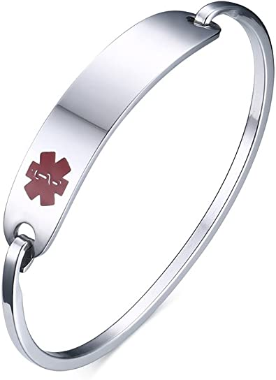 XUANPAI Free Custom Personalized Stainless Steel Medical Alert ID Bangle Open Cuff Bracelet With Ring