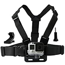 CamKix Chest Mount Harness for Gopro Hero 5 and 4, Session, Black, Silver, Hero+ LCD, 3+, 3, 2, 1 - Fully Adjustable Chest Strap - Also Includes J-Hook / Thumbscrew / Storage Bag