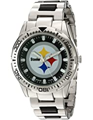 Game Time Mens Heavy Hitter  Metal and Alloy Quartz Analog  Watch, Color:Silver-Toned (Model: NFL-HH-PIT)