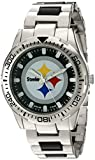 Game Time Men's 'Heavy Hitter'  Metal and Alloy Quartz Analog  Watch, Color:Silver-Toned (Model: NFL-HH-PIT)