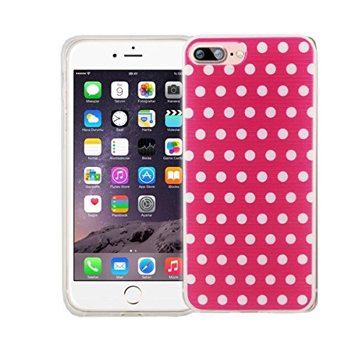 König-Shop Handy Hülle für Apple iPhone 8 Plus Cover Case Schutz Tasche Motiv Slim Silikon Bumper Schale Etuis Rahmen TPU Motiv Polka Dot Pink