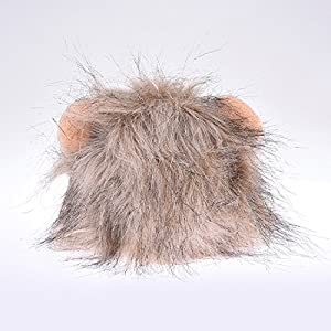 WIDEN Pet Cat Dog Costume Lion Mane Wig Cosplay Halloween Dress up with Ears Wig Hat for Cat Puppy
