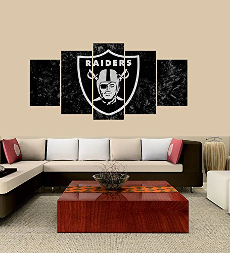[Medium] Premium Quality Canvas Printed Wall Art Poster 5 Pieces / 5 Pannel Wall Decor Oakland Raiders Sports Team Logo Painting, Home Decor Pictures - With Wooden - Oakland Raiders Decorations Wall