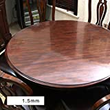 kitchen 67 brunch trgvfc 1.5mm thick Pvc tablecloth,Waterproof Crystal clear table top protector admired,Easy clean,Plastic tablecloth kitchen dining room wood furniture protective cover-round-A diameter170cm(67inch)