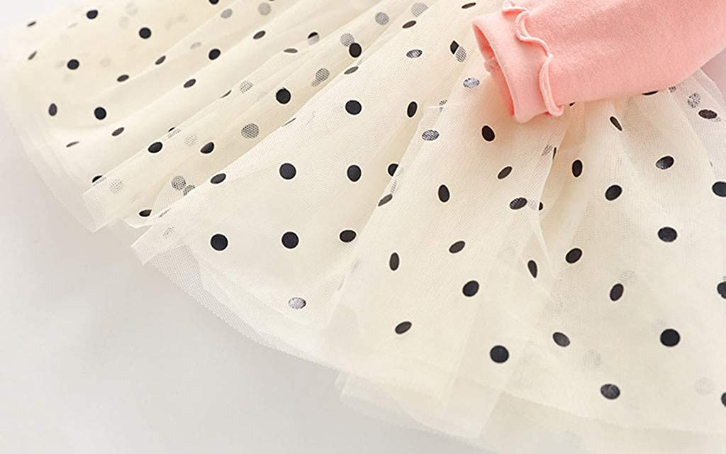 ANJUNIE Toddler Kids Girl Polka Dot Bowknot Splicing Princess Party Tulle Dress Pullover Clothes