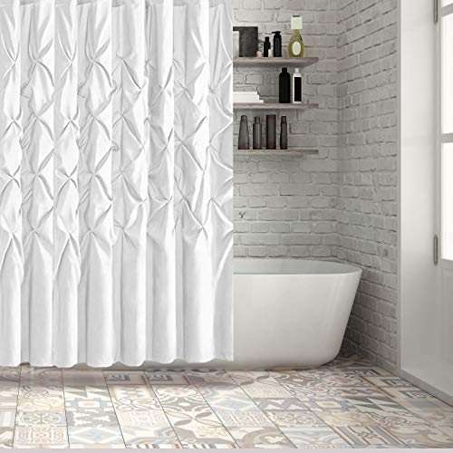 Hermosa Collection Luxury Hotel Ruffle Pinch Pleat Pattern Shower Curtain White Shiny Faux Silk Appearance