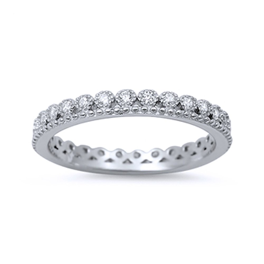 Sterling Silver Round CZ Stackable Band Crown Inspired Design Eternity Band 3MM (Size 4 to 10), 8