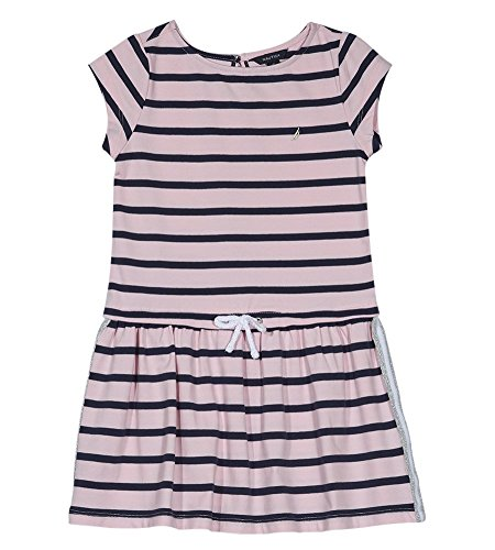 Nautica Girls' Toddler Short Sleeve Fashion Dress, Drop Light Pink, 4T