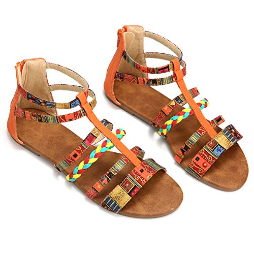 Camfosy Summer Flat Sandals for Women, Ladies Strappy Zip Sandals Colorful Cross Toe Flip Flops Gladiator Sandals Orange 8 M US