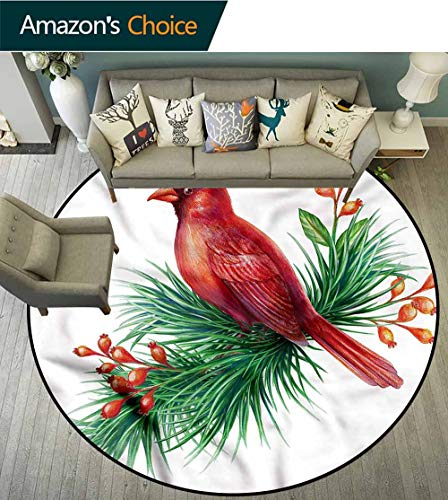 - Cardinal Small Round Rug Carpet,South American Bird Branch Non-Slip Living Room Soft Floor Mat Round-71