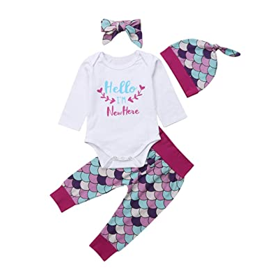 266dfa770985f Amazon.com: Baby Mermaid Outfit Toddler Girls Fish Scale Set 4PCS Letters  Romper Top Mermaid Pants Matching Hat Headband Clothes Set: Clothing