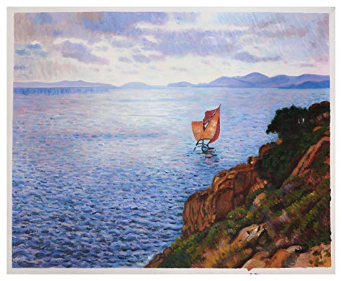 - Cap Benat - Theo van Rysselberghe hand-painted oil painting reproduction,beautiful bay with sailboat,vivid color seascape,coastal landscape