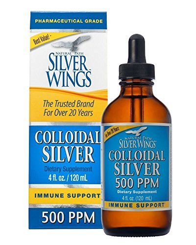 Natural Path Silver Wings Dietary Mineral Supplement, Colloidal Silver, 500 PPM, 4 fl. oz. / 120 ml - 0.1% Suspension